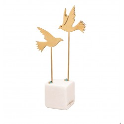 PANDORA ARTSHOP BRASS BIRDS ON MARBLE BASE 22x8.5x5cm.