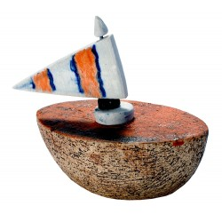 Stoneware little boat with rotating hand-painted porcelain flag.