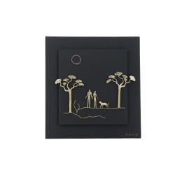 PANDORA ARTSHOP WALLPIECE COUPLE BRONZE WOODEN FRAME 30x30cm