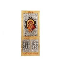 PANDORA ARTSHOP ICON VIRGIN MARY THE JOY OF ALL EGG-TEMPERA ON WOOD 43x18x4.5cm SILVER 925°