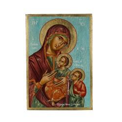 PANDORA ARTSHOP ICON VIRGIN MARY-CHRIST-PRODROMOS EGG-TEMPERA WOOD 25x35x2.5cm
