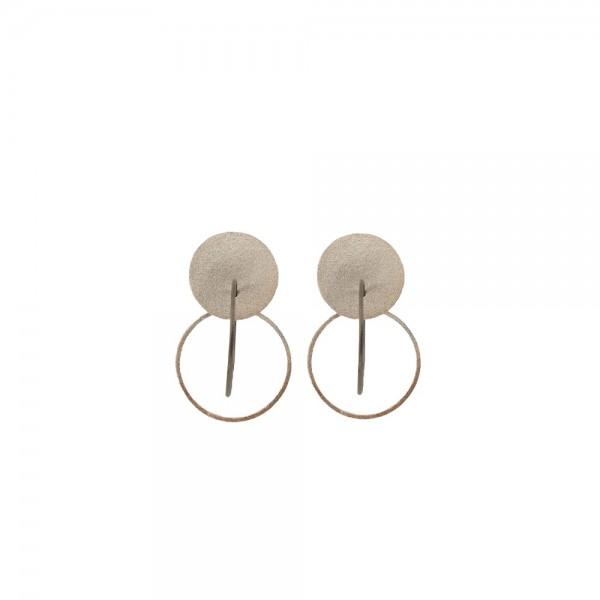 PANDORA ARTSHOP EARINGS SILVER & OXIDIZED SILVER  925° 6.5x3*4cm