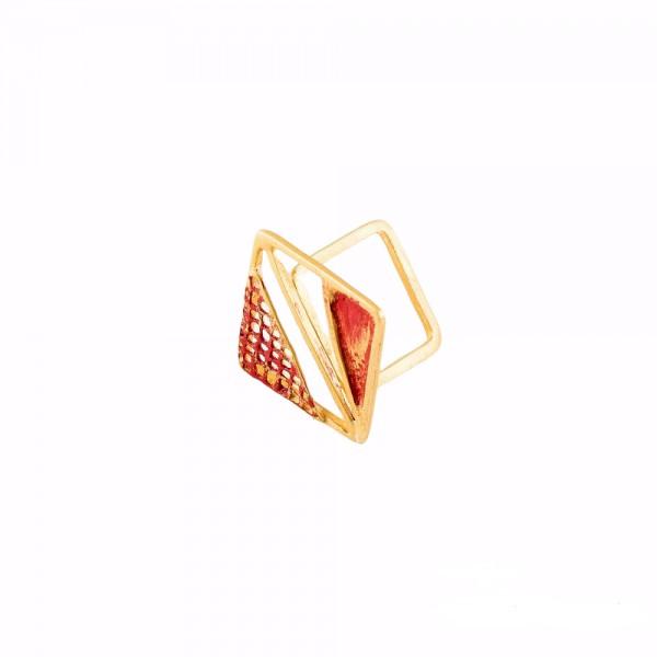 PANDORA ARTSHOP RING BRASS DOUBLE FINE GOLDPLATED 2.5x2.5cm