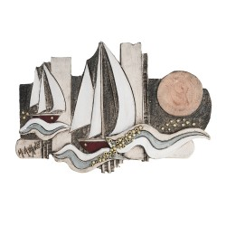PANDORA ART SHOP WALLPIECE SHIP CLAY STONEWARE 50.5x24cm