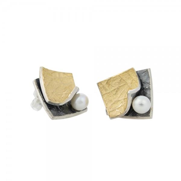 PANDORA ARTSHOP EARINGS SILVER 925° OXIDIZED GOLD 22K ,PEARLS  FRESHWATER 12x14mm