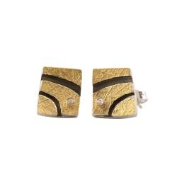 PANDORA ARTSHOP EARINGS SILVER925° OXIDIZED GOLD 22K 10x13mm DIAMONDS  0.02ct