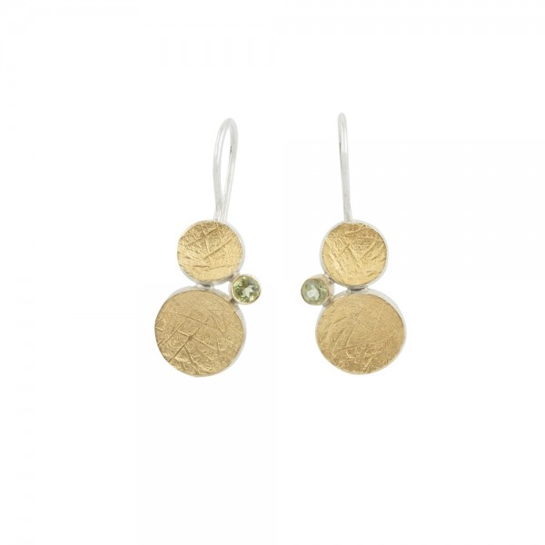 PANDORA ARTSHOP EARINGS SILVER 925° GOLD 22K PERIDOTS 0.30ct 3.5cm