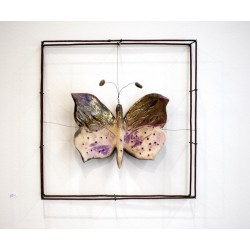 PANDORA ARTSHOP WALLPIECE CERAMIC BUTTERFLY ON METAL WIRES 30x30x4.5cm